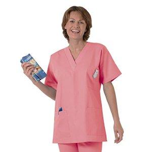 Blouse médicale type tunique col V idéale blouse vétérinaire blouse dentiste blouse pharmacie popeline 65/35 Panter pink 533 T2 -40/42