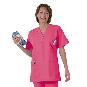 Blouse médicale type tunique col V idéale blouse vétérinaire blouse dentiste blouse pharmacie popeline 65/35 Strawberry 618 T2 -40/42