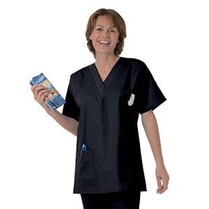 Blouse médicale type tunique col V idéale blouse vétérinaire blouse dentiste blouse pharmacie popeline 65/35 Dark 825 T2 -40/42