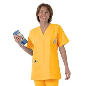 Blouse médicale type tunique col V idéale blouse vétérinaire blouse dentiste blouse pharmacie popeline 65/35 Yellow 816 T3 -44/46