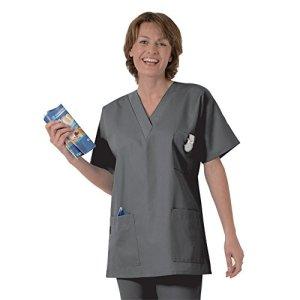 Blouse médicale type tunique col V idéale blouse vétérinaire blouse dentiste blouse pharmacie popeline 65/35 Dark grey 822 T1 – 38/40