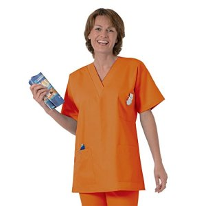 Blouse médicale type tunique col V idéale blouse vétérinaire blouse dentiste blouse pharmacie popeline 65/35 Dark orange 814 T1 – 38/40