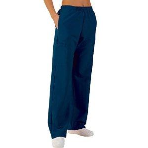 Pantalon médicale de travail taille élastiquée poches plaquées popeline 65/35 Blue Navy 801 T2 -40/42