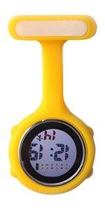 Ellemka JCM-330 – Montre Infirmière Digital-e Numérique LCD FOB de Tunique EL Rétro-Eclairage à Clip Attache Epingle Broche Silicone Mouvement Quartz Docteur Paramédical – Couleur Jaune