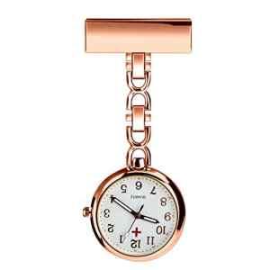Bestfire Montre pour l'infirmière, montre de clips, montre médicale suspendue, montre de poche, montre à quartz pour les médecins féminins et masculins, il y a une boîte. (pink)