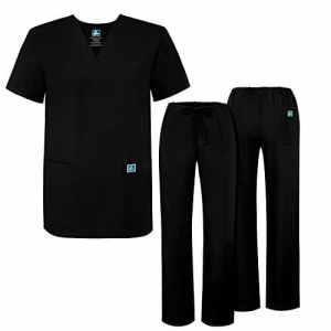 Adar Ensemble Uniformes pour Homme Blouse – Uniforme Médical avec Haut et Pantalon – 701_M Couleur: BLK | Taille: M