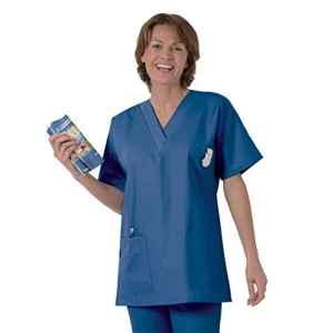 Blouse médicale type tunique col V idéale blouse vétérinaire blouse dentiste blouse pharmacie popeline 65/35 Blue Majo 802 T1 – 38/40