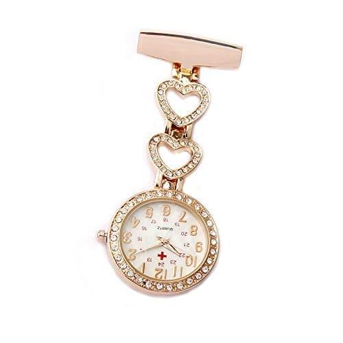 Montre de poche pour femme en forme de broche avec gousset cœur en cristal pour blouse d'auxiliaire médicale,d'infirmière, de médecin Gorben, rose gold