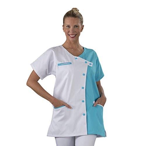 Label blouse Tunique blouse médicale couleur moderne 3 poches passe poiles Fermeture asymétrique Sergé 210 gramme Couleurs Blanc Bleu Pressions couleurs Lavage Machine 90 degrés ou industriel T4-48/50