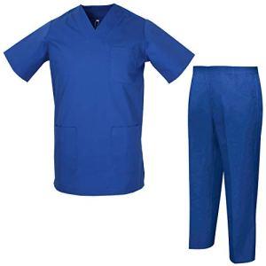 Misemiya – Ensemble Uniformes Unisexe Blouse – Uniforme Médical avec Haut et Pantalon – Ref.8178 – Large, Bleu