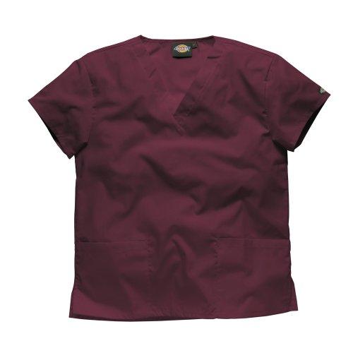Dickies Workwear Chemise de médecin avec 2poches et col en V – rouge – M