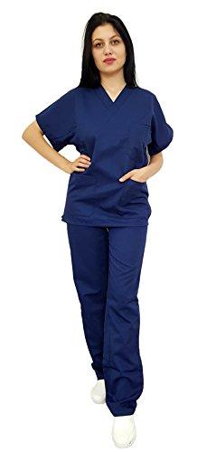 Tecno Hospital Distributeur d'hôpital unisexe, OSS, Ététique, infirmière, tunique et pantalon, personnel médical, opérateur scolaire, bleu marine, 7 XL.
