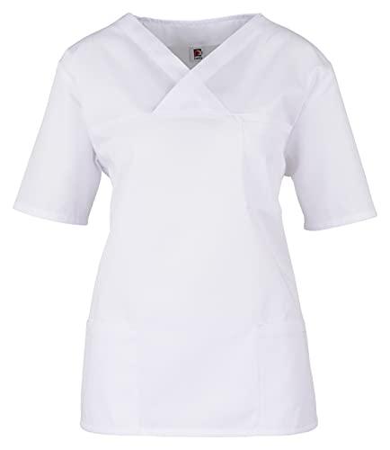 BEB Tunique unisexe pour femme, tunique à enfiler, tunique de soins, colorée, légère, hôpital, cabinet médical, tissu sanfor, fabriqué en UE – Blanc – XS