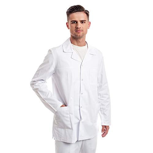 Blouse Blanche Chimie Homme – 7 Tailles De Blouses Médicale (XS – 3XL) – Parfait comme Blouse Pharmacie, Laboratoire, Infirmiere, Lycee, Cosplay Ou Docteur, Technicien Manteau – Blouse en Coton