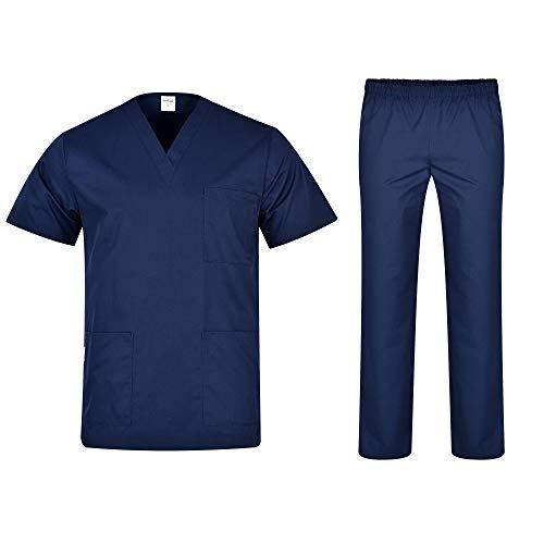 B-well Colombo Uniforme Médicale Unisexes Ensemble: Haut et Pantalons + Blouse Medicale Femme/Homme – Tenue Aide Soignante Professionnelle Vêtement médical – Bleu – XX-Large