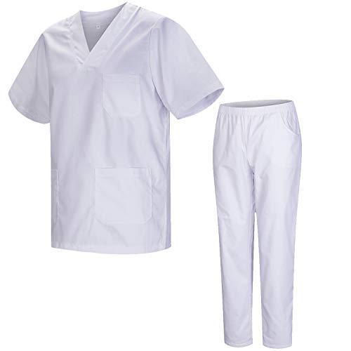 Misemiya – Ensemble Uniformes Unisexe Blouse – Uniforme Médical avec Haut et Pantalon – Ref.8178 – Medium, Blanc