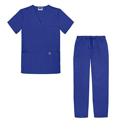 Sivvan Tenue Médicale Unisexe Classique – Blouse Col en V & Pantalon à Cordon – S8400 – Royal Blue – 5X