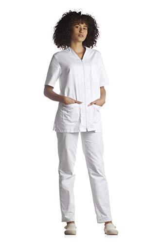 Tecno Hospital Tenue complète pour hôpital, blouse et pantalon, pour esthéticien, infirmier, médecin, unisexe avec fermeture éclair – Blanc – S