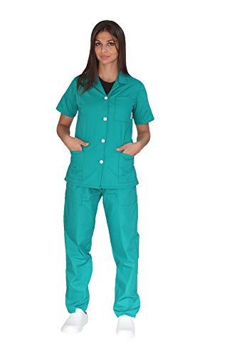 tessile astorino Broderie gratuite – Divisa sanitaire vert – Pantalon et Haut d'hôpital – Pour homme et femme – Ensemble pour dentiste, infirmier, hôpital, opérateur sanitaire – Vert – 4X-Large