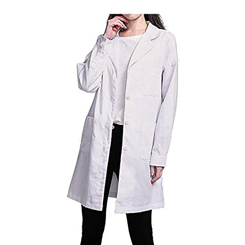 88AMZ Blouse de Laboratoire Blouse de médecin Blouse de médecin pour Blouse Blanche pour Femme Adaptée aux étudiants Laboratoire Scientifique Infirmière Cosplay Halloween Blouse en Coton (M, Blanc)