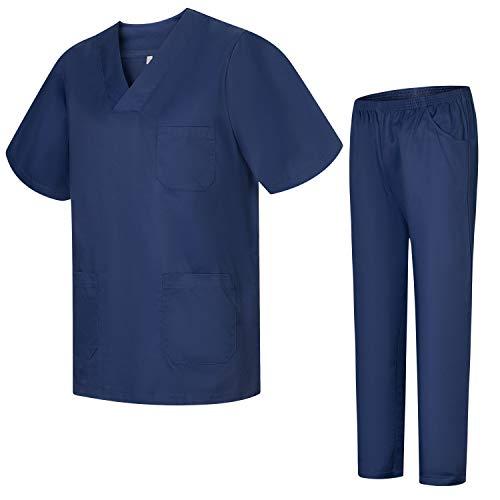 Misemiya – Ensemble Uniformes Unisexe Blouse – Uniforme Médical avec Haut et Pantalon – Ref.8178 – X-Small, Bleu Marine