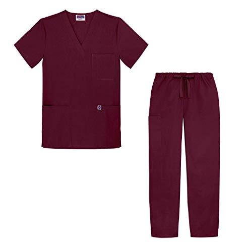 Sivvan Tenue Médicale Unisexe Classique – Blouse Col en V & Pantalon à Cordon – S8400 – Burgundy – L