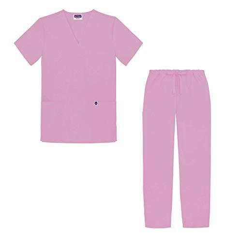 Sivvan Tenue Médicale Unisexe Classique – Blouse Col en V & Pantalon à Cordon – S8400 – Sherbet – S