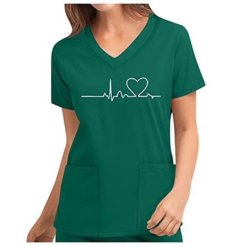 woejgo Chemise à enfiler col en V pour femme – Pour soins infirmiers – Col en V