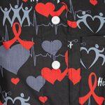 DINOZAVR Carla Uniforme médical Blouse Tunique de Travail médicale 3 Poches Manches Courtes Boutons Pression – Femme Noir/Coeurs M