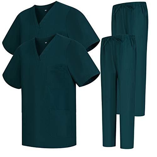 Misemiya – Pack * 2 Pcs – Ensemble Uniformes Unisexe Blouse – Uniforme Médical avec Haut et Pantalon – Ref.2-8178 – X-Small, Vert 68
