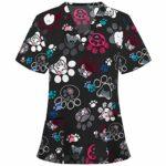 SJJY Pharmacie Spa De Beauté Et Clinique Chemise Confortable Bon Marché T Shirt Infirmiere Blouse Medicale Femme Col V AVCE Boutons T Shirt Tunique Medicale Femme Couleur Fleur Imprimé