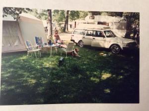 Morten Telle: Da unga var små,med Combi Camp,med fortelt Ca.95,har Combi'n fortsatt, Takboksen å