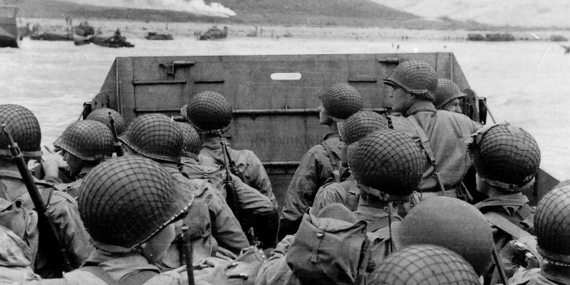 US Soldiers approaching Omaha Beach at Normandy June 6 1944