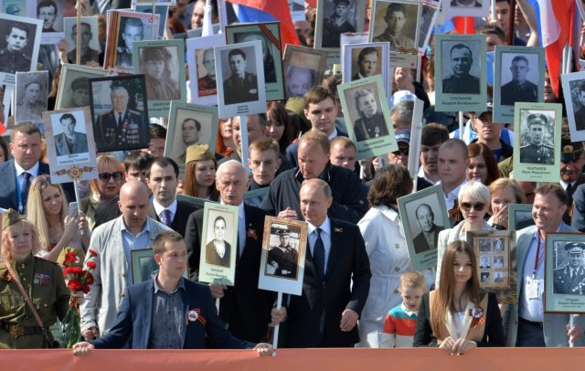 Putin leads the Immoral battalion parade in 2015