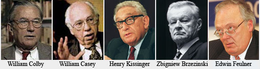 Some known US Cercle participants. Colby was Opus Dei; Casey and Feulner Knights of Malta. Brzezinski worked closely with the Knights of America, and like Kissinger, is close to the Rockefeller interests