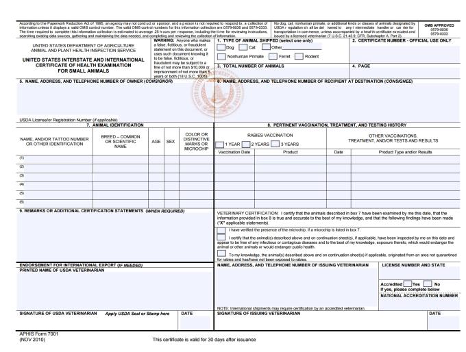 Usda International Pet Travel Certificate | Distination.co