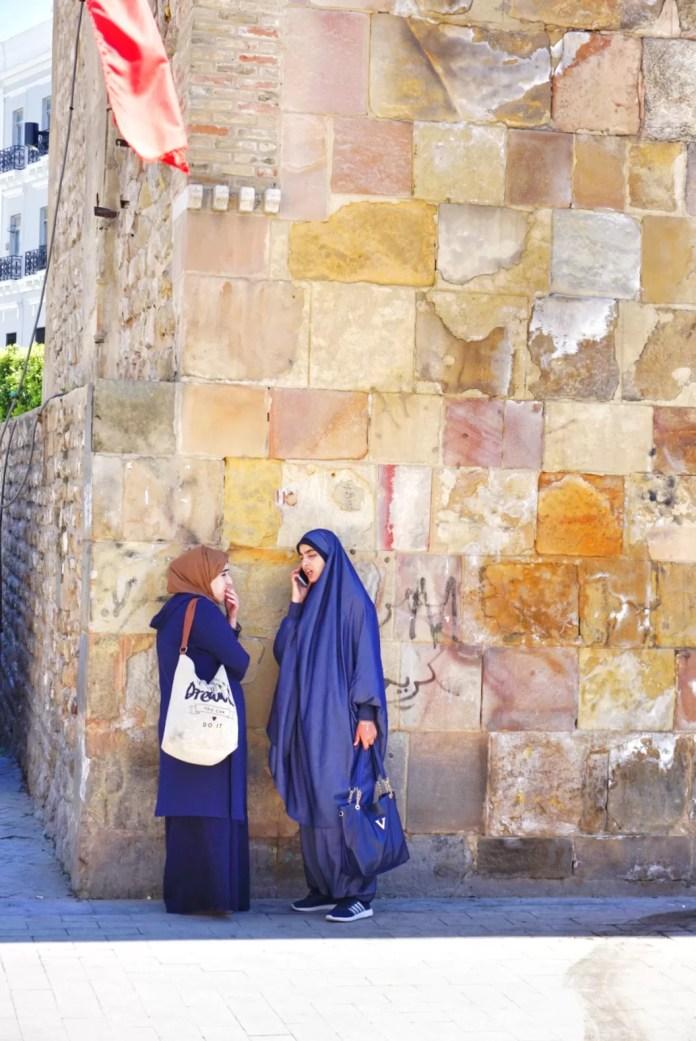 Vrouwen moslim hoofdoek Tunis Tunesië