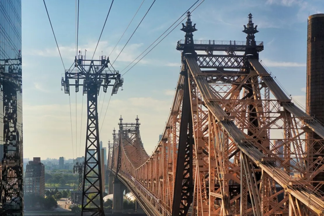 Tram naar Roosevelt Island Queensboro Bridge New York