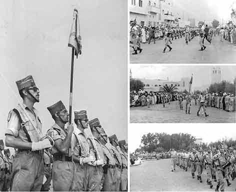 Para el último arriado de la bandera española formó la 3ª cia