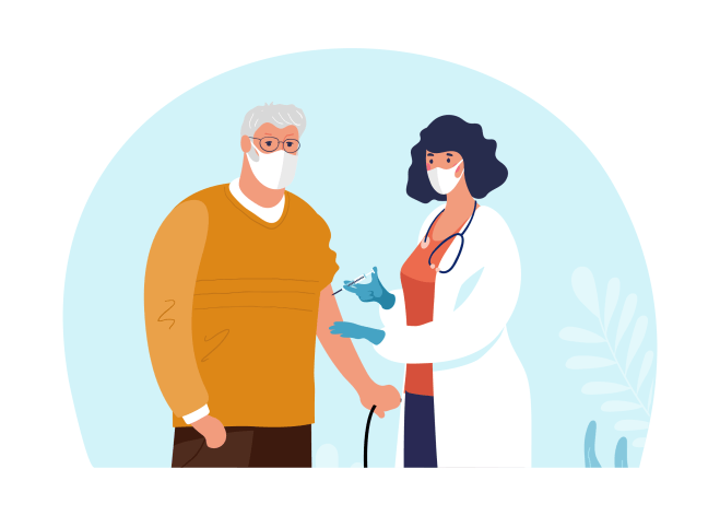 Doctor vaccinating a veteran