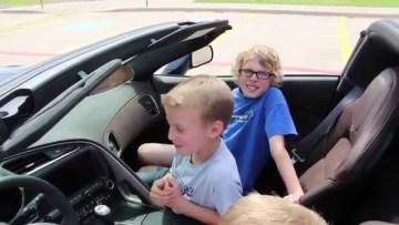 Grandkids enjoy grandpa's C7 Corvette