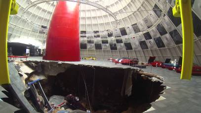 National Corvette Museum Sinkhole Footage – Helicopter Shots