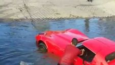 1976 Corvette Goes for a Swim after Emergency Brake Cable Failure