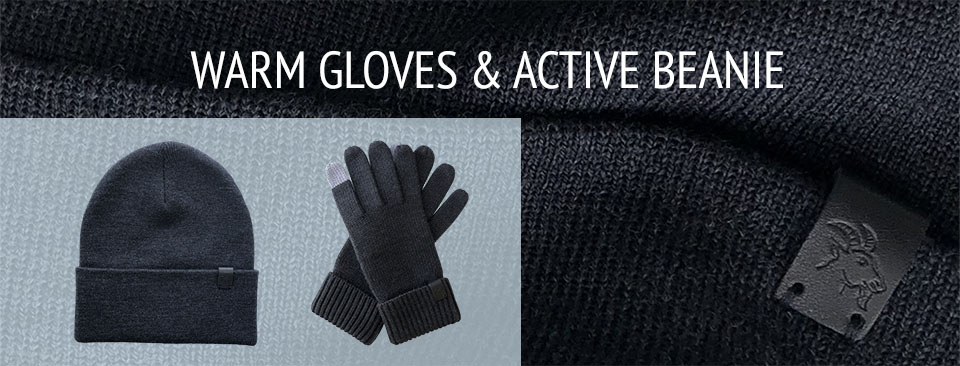 Merino Wool Accessories - Gloves and Beanie Hat