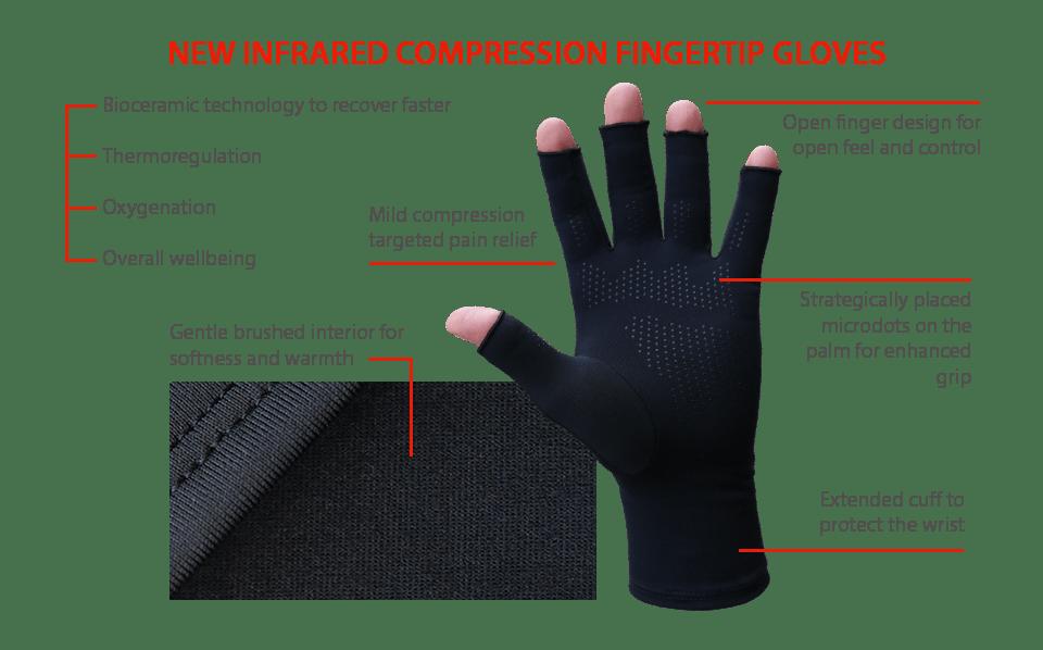Redesigned Infrared Compression Fingertip Gloves Palm Grip