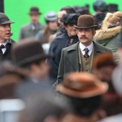 Benedict Cumberbatch and Martin Freeman film a scene for the 'Sherlock' christmas special in London Featuring: Benedict Cumberbatch, Martin Freeman Where: London, United Kingdom When: 07 Feb 2015 Credit: WENN.com