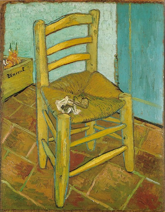 A chair for Vincent to sit upon; a pipe & tobacco for Vincent to puff upon