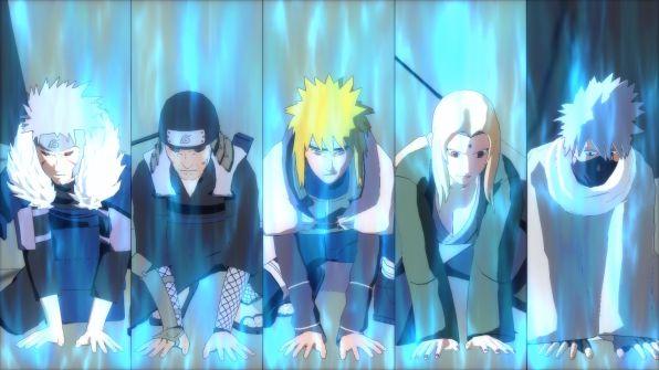 Primo, secondo e quarto Hokage insieme a Tsunade e Kakashi alle prese con una tecnica segreta.