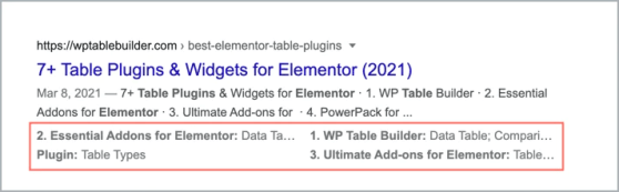 Table data in the Google SERPs 1