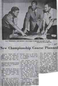 Press article announcing Cypress Creek CC, von Hagge's first solo design